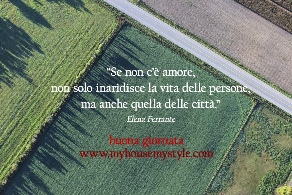 """""""Se non c'è amore,  non solo inaridisce la vita delle persone,  ma anche quella delle città."""" Elena Ferrante"""